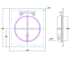 600mm flap valve line drawing