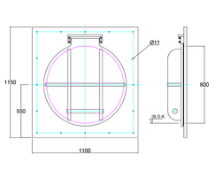 800mm flap valve line drawing