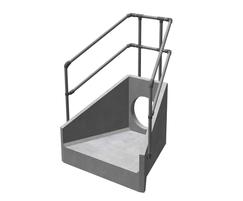 Standard precast headwall with safety railing