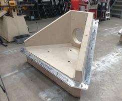 Althon's headwall with pond liner brackets