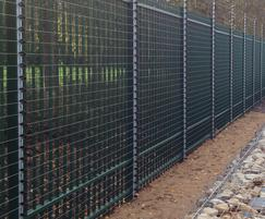 Barbican fencing clad with welded mesh