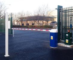 Traffic arm barrier with a Barbican sliding gate