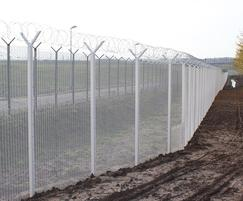 High security perimeter fence with razor wire