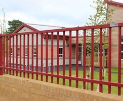 Metal railings securing Nursery pre school