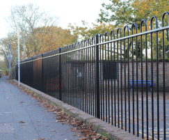 Bow top fencing powder-coated black RAL 9005