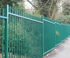 Stepped vertical bar fencing