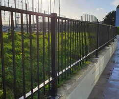 Metal residential railings mounted on a wall