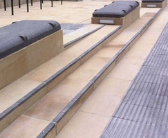 Woodkirk sandstone paving and steps with granite benche