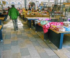 Palette of coloured granite paving for market hall