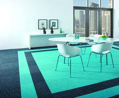 Array Peacock carpet tiles with Broadrib Peacock
