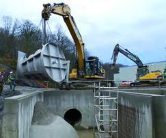 One of the Hydro-Brake® Flow Controls being craned in