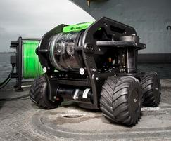 Seabotix submersible ROV fitted with skid