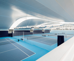 Curved tennis club roof