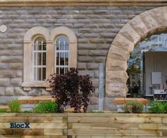 Planters built for restaurant using wooden blocks