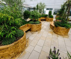 Bespoke WoodBlocX planters and seating for NHS