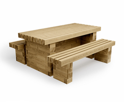 Glencoe picnic table and bench 3D visualisation