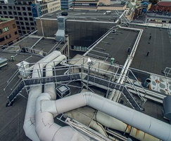 Step-overs and edge protection for the conference roof