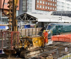 Piling for a new rail platform at Hayes and Harlington