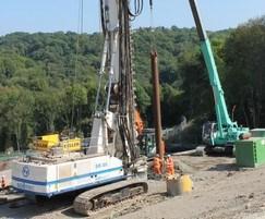 Installation of an 18m CFA pile for landslip prevention
