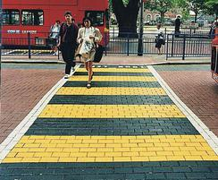 Marker blocks for pedestrian crossing, yellow and black