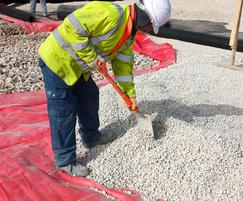 Pavement construction using MM380 tanking membrane