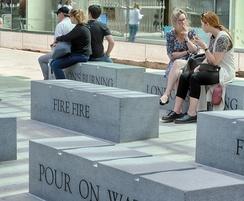 Prospero granite benches with inscriptions