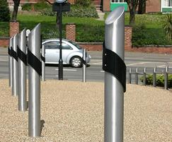 ASF 5009 bollard shown with black visibility swirl