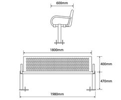 ASF 6003 Stainless Steel Seat drawing