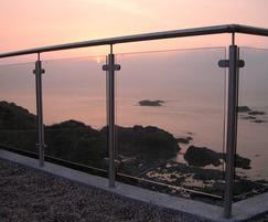 Stainless steel post and glass panel balustrade