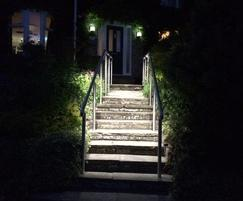 Stainless steel step balustrades with LED downlighters