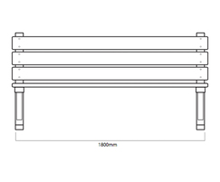 ASF 550 traditional cast iron and timber bench drawing