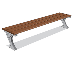 ASF 551 traditional cast iron and timber backless bench