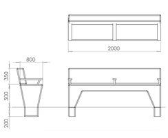 ASF Modernist Granite Bench Seat drawing