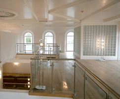 ASF Post and Clamp Glass Balustrade - shown indoors