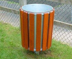 Neptune timber-clad litter bin