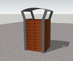 Cerro cast aluminium bin with hardwood slats