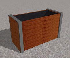 Cerro aluminium and hardwood square planter