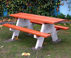 Adriatic hardwood and concrete picnic table