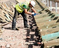 Installing a Permacrib retaining wall system