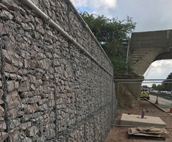 Retaining gabion wall showing infill material