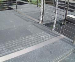 Black granite paving flags