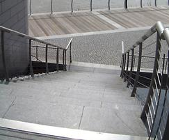 Black granite steps and paving flags