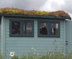 Sedum roof on a garden building