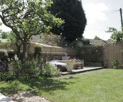 The finished garden features turf supplied by Harrowden