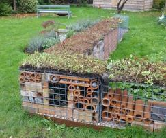 Gabion wall topped with sedum matting