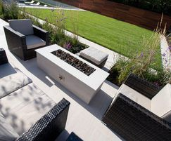 Turf features in modern garden