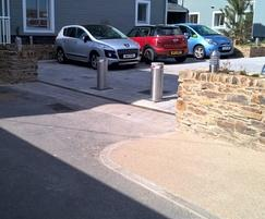 Two bollards were installed at each car park