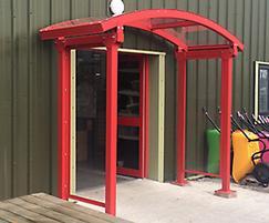 Entrance canopy at Huws Gray