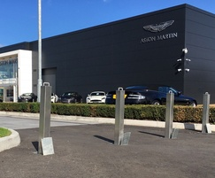 Retractable stainless steel bollards at car showroom