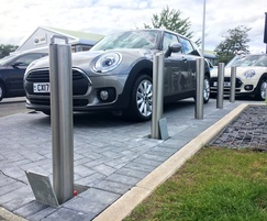 Retractable stainless steel bollards - car dealership